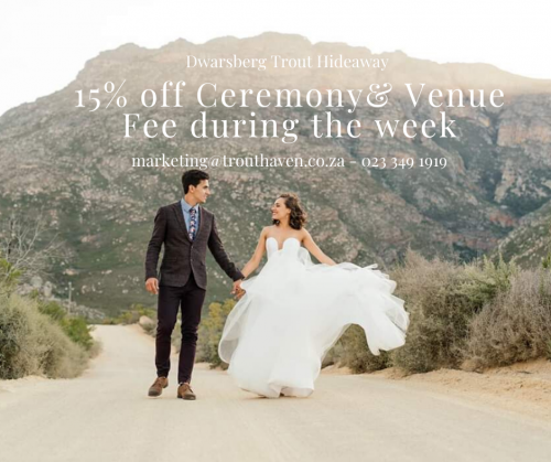 15% off venue- wedding fee
